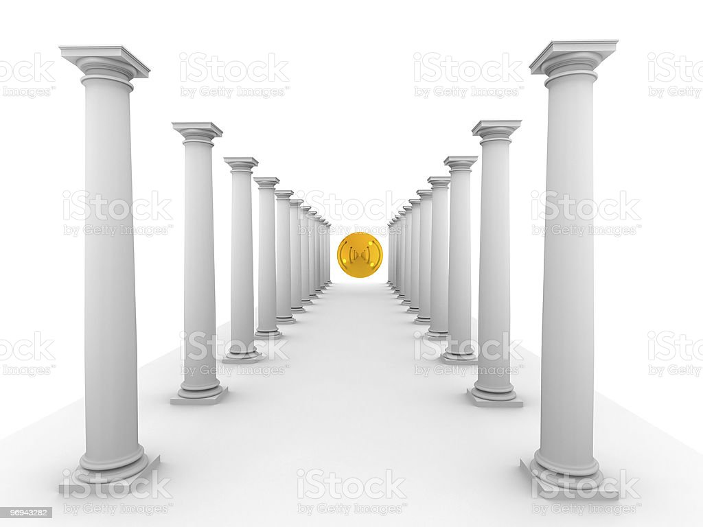 image of classic columns with mirror yellow sphere royalty-free stock photo