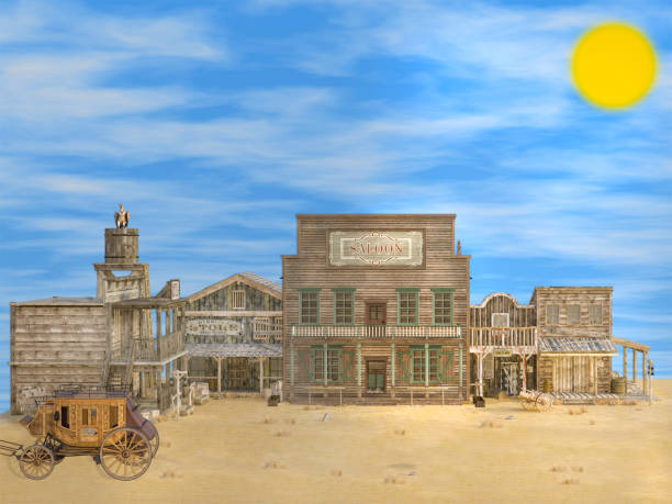 3d image of classic old deserted western town - western town stock photos and pictures