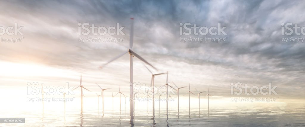 Image of coastal wind park with sunset stormy sky – Foto