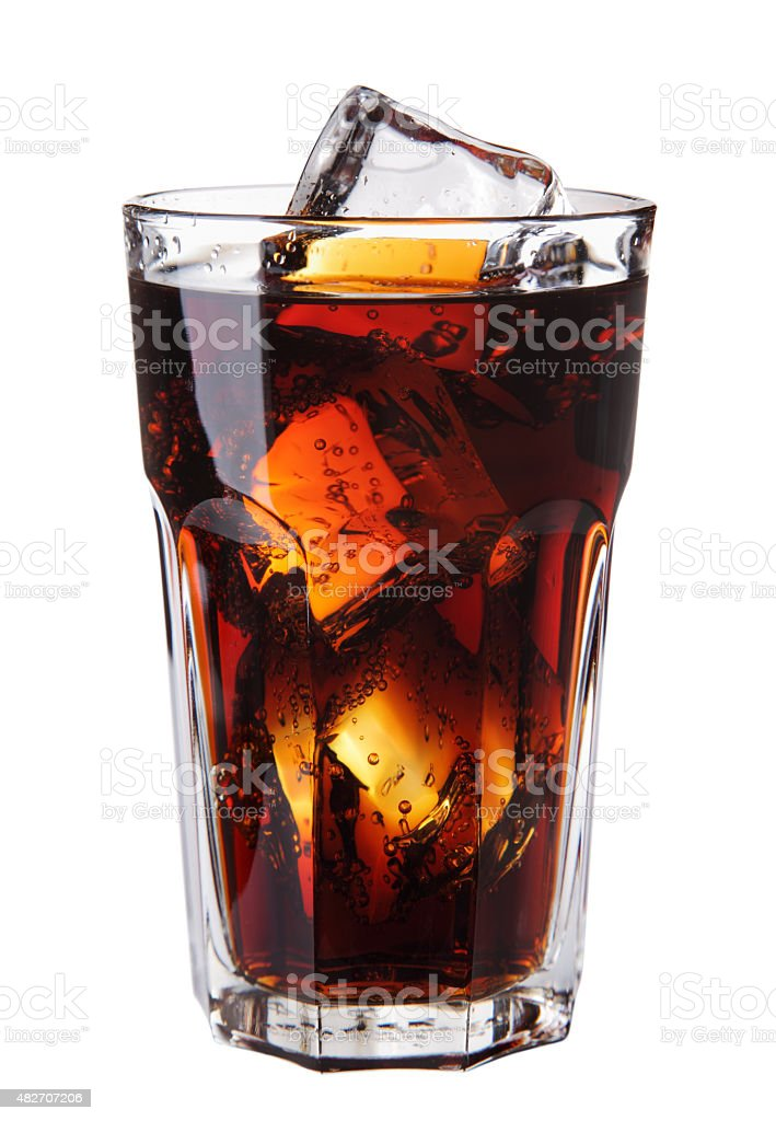 Image of Cola glass with ice cubes over white stock photo