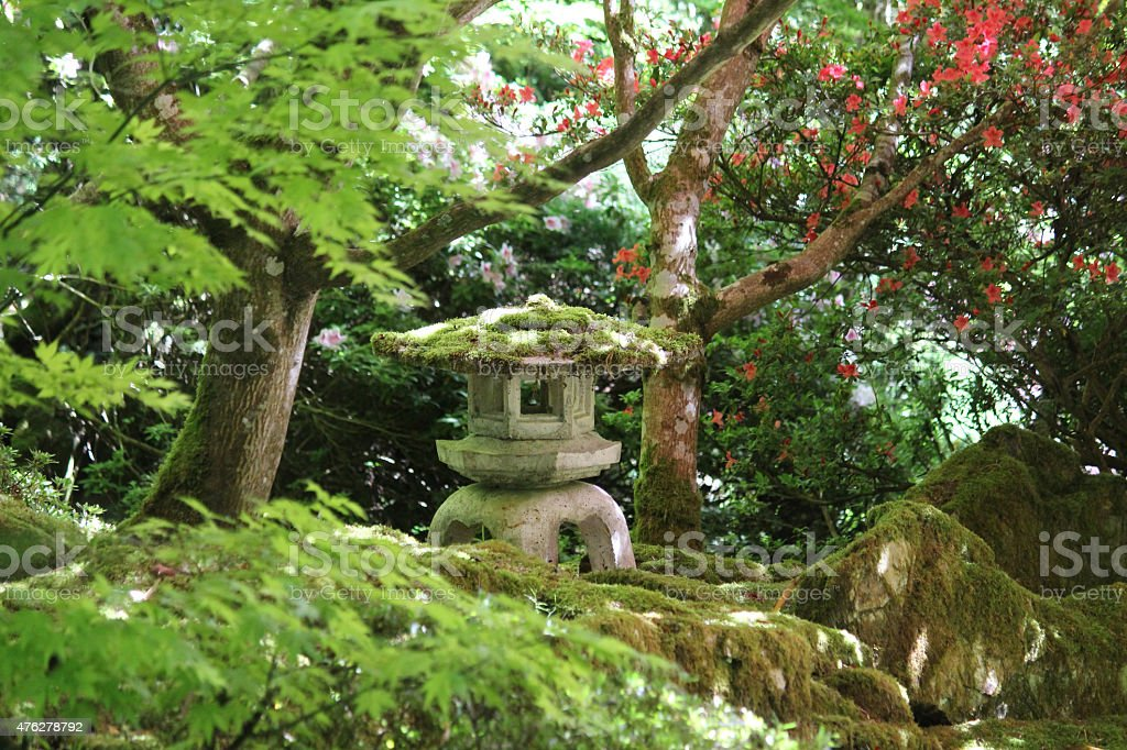 Image Of Concrete Granite Snow Lantern In Japanese Garden Maples