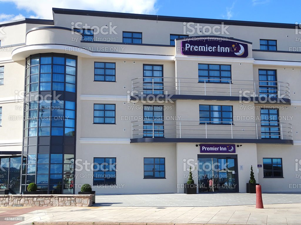 Image of contemporary architecture of seafront Premier Inn Exmouth Hotel stock photo