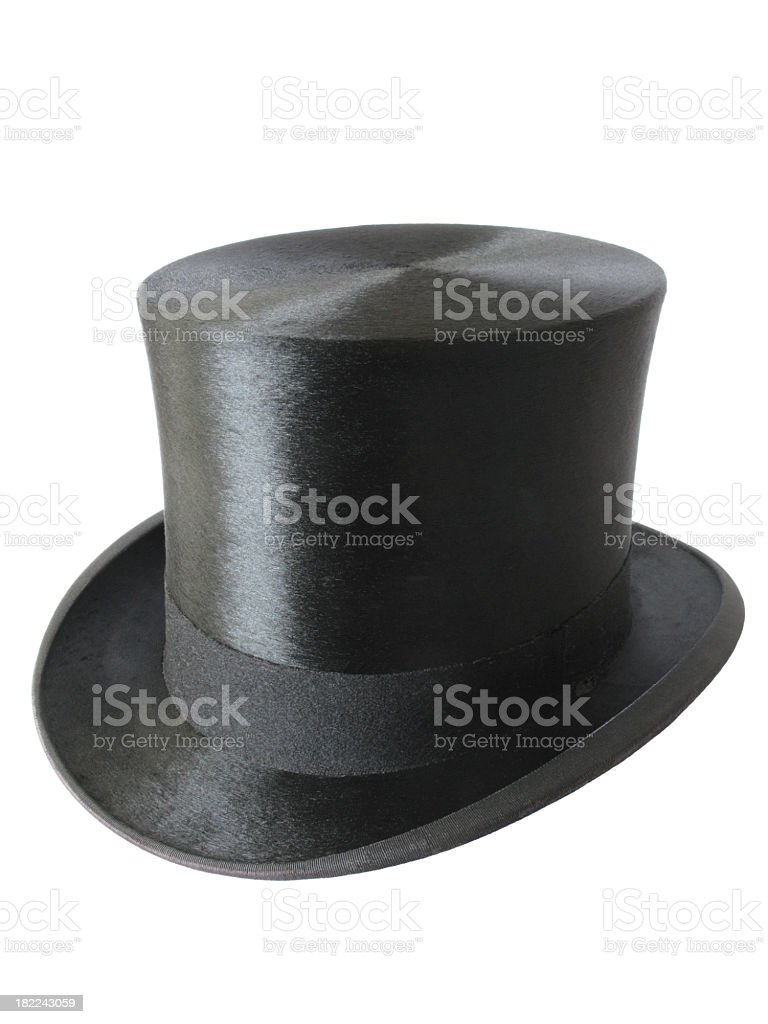 Image of crisp black top hat isolated on a white background stock photo