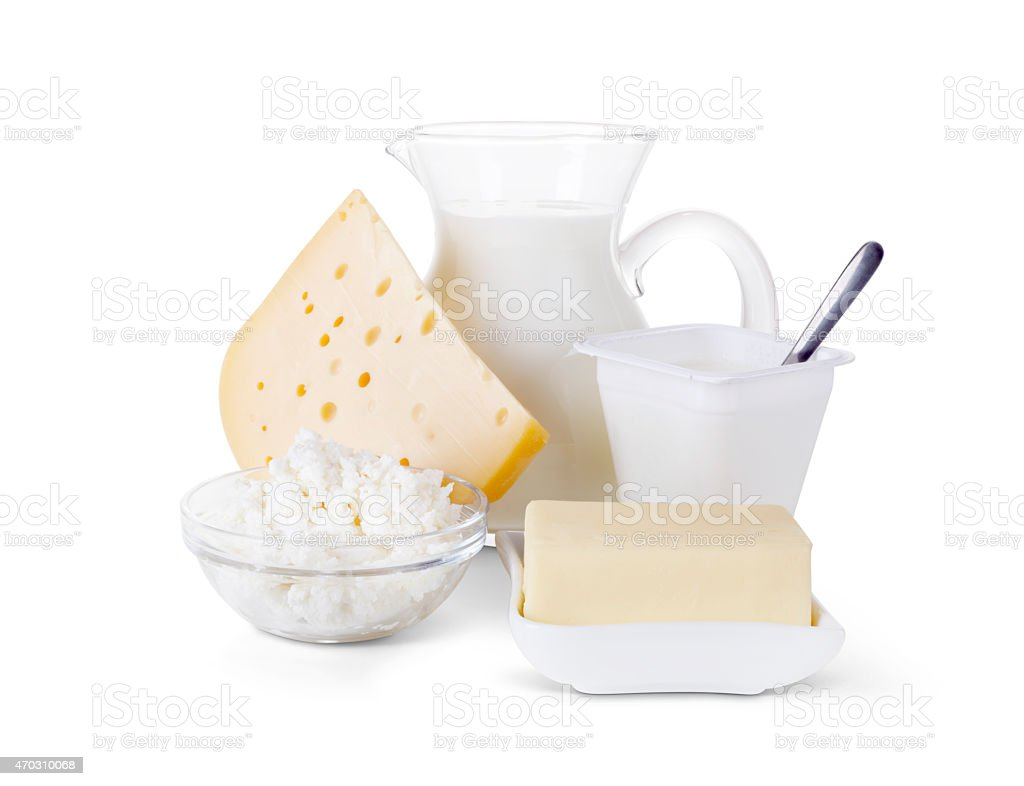 Image of dairy products on white background stock photo