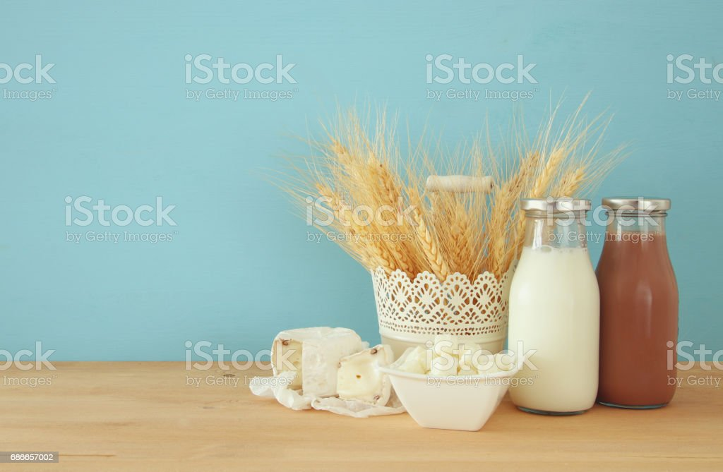 image of dairy products. Symbols of jewish holiday - Shavuot royalty-free stock photo