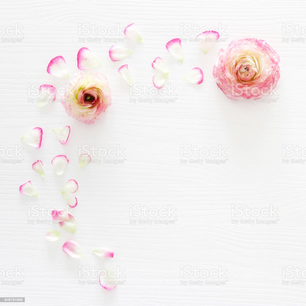 Image Of Delicate Pastel Pink Beautiful Flowers Arrangement Over
