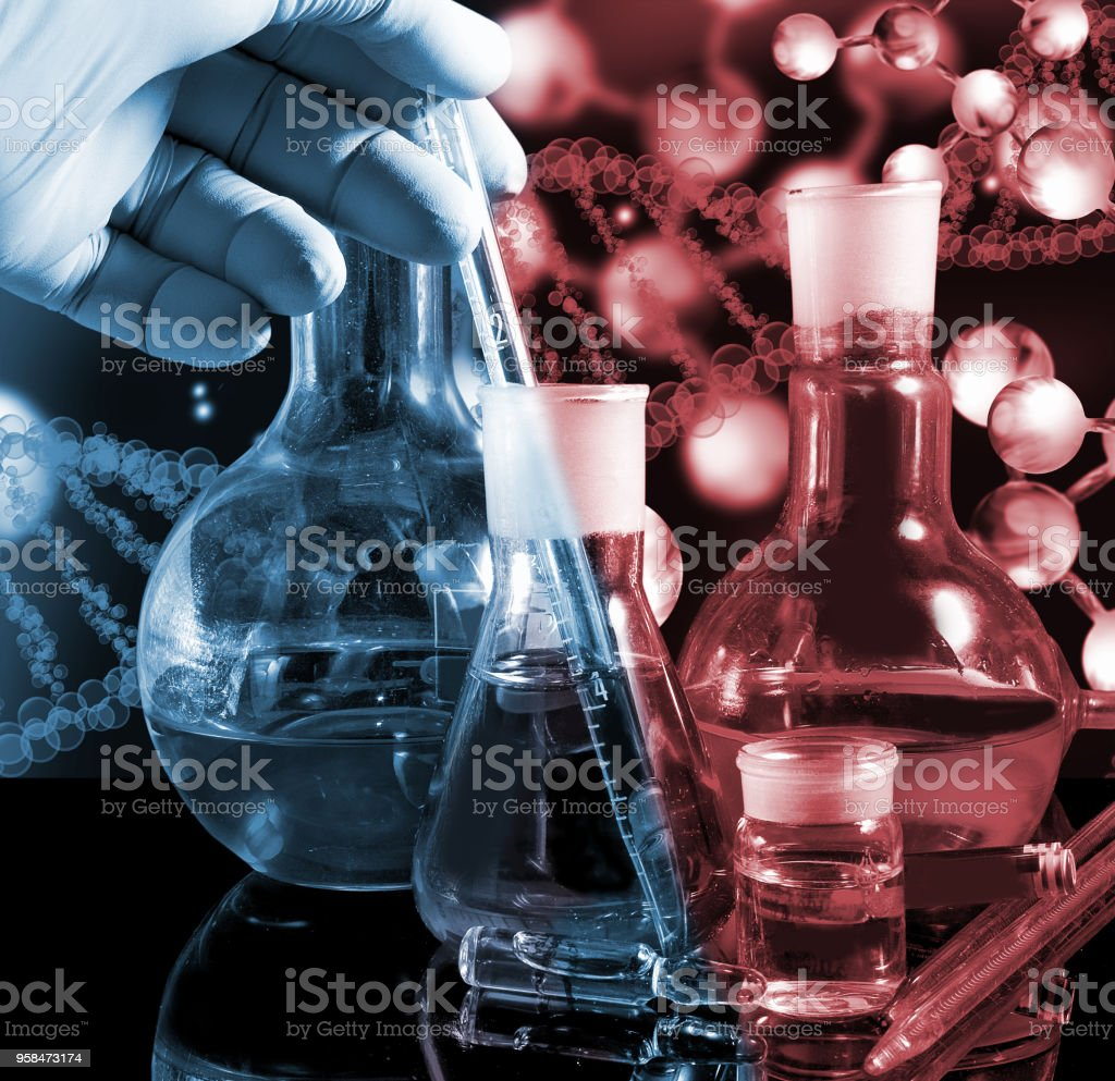 Image of different glassware and male hand in glove close-up stock photo