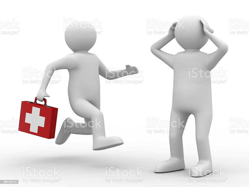 3D image of doctor and patient on white background royalty-free stock photo