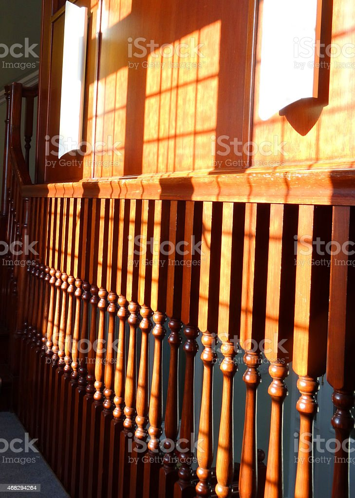 Image Of Elegant Wooden Staircase Spindles / Stair Balustrades /  Balustrading, Varnished Royalty Free