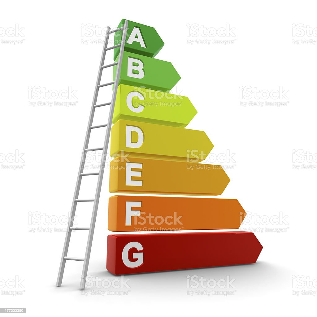 3D image of energy efficiency concept with letters and steps stock photo