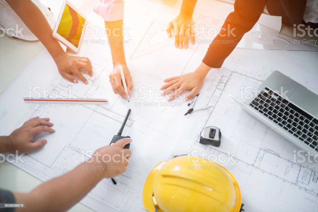 Image of engineer meeting for architectural project. working with...