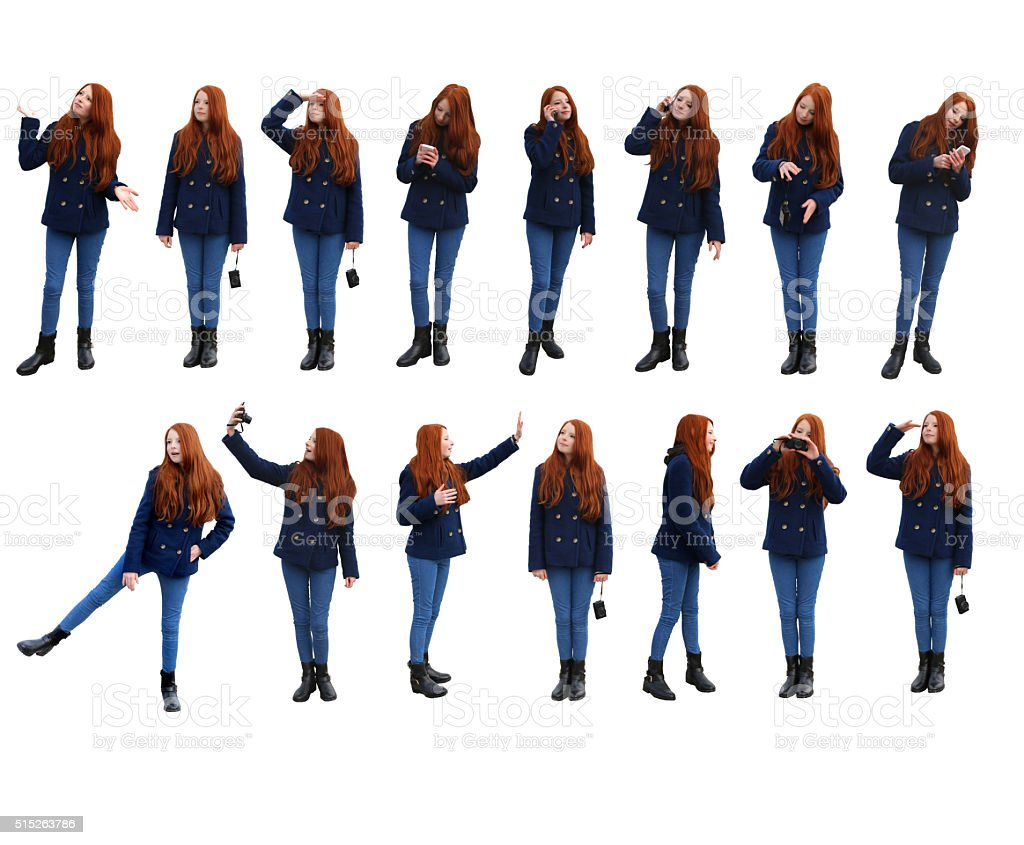 Image of fifteen action poses of attractive redheaded teenage girl stock photo