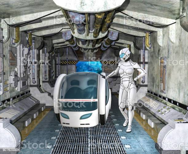3D Image of futuristic spacewoman in spaceship with pod