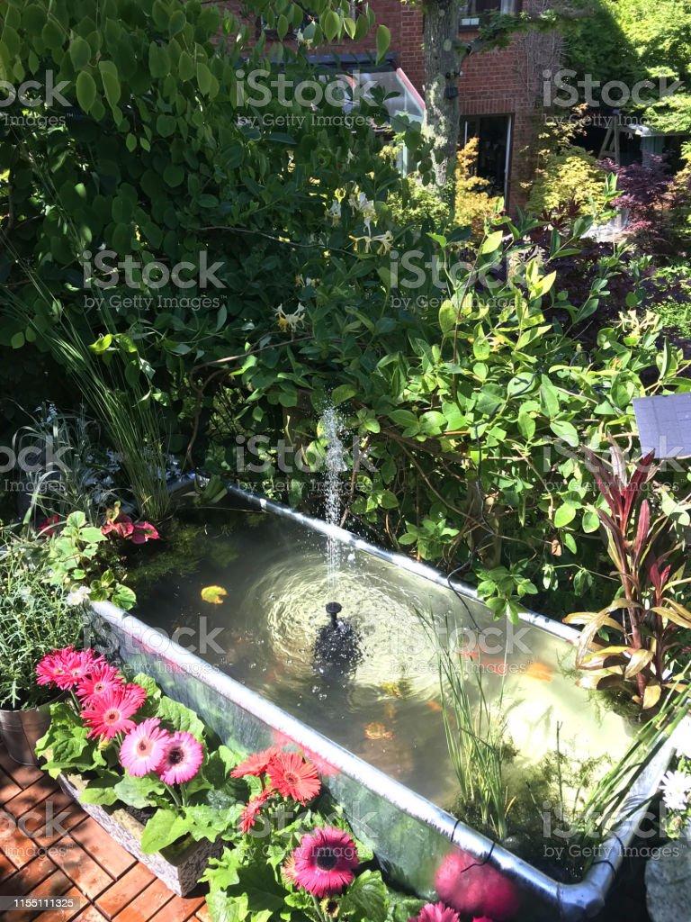 Bild Der Gartenbaumterrasse Terrasse Balkon Im Sommer Mit ...