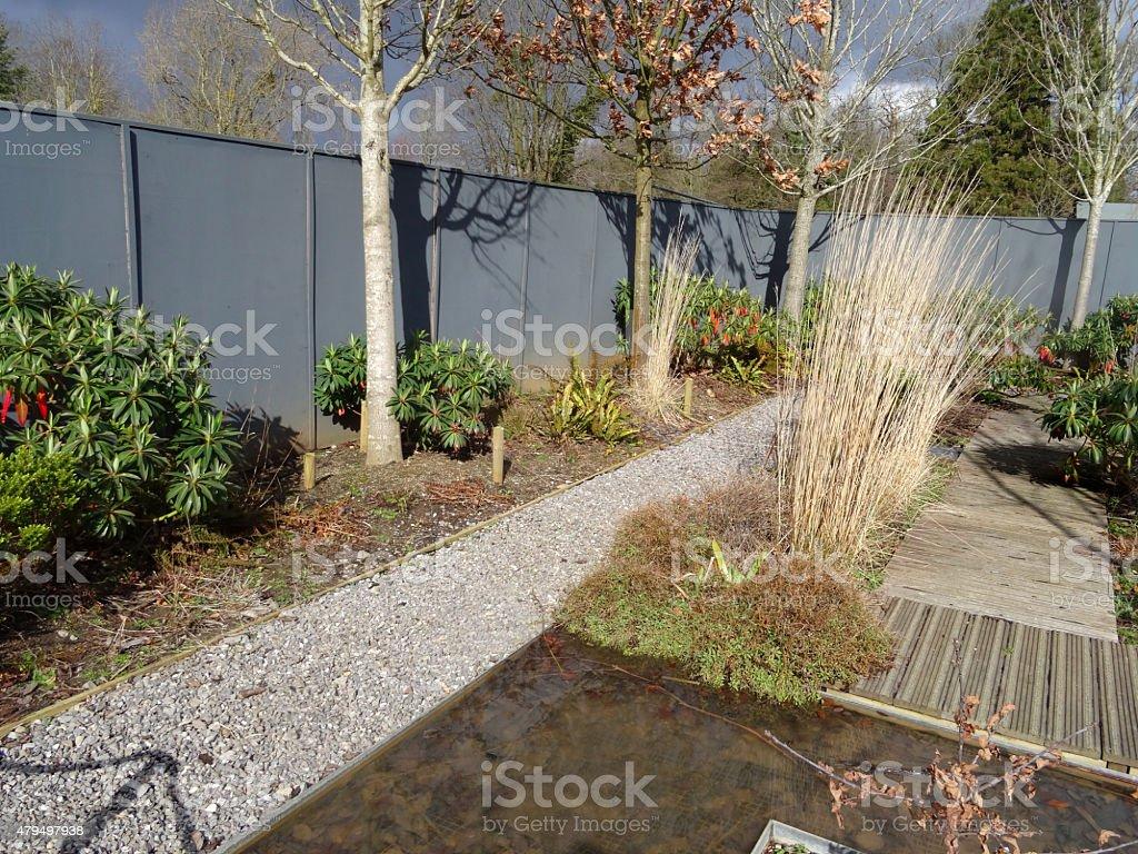 Fotografia De Imagen Del Jardin Con Grava Y Terraza Estanque Vias - Estanque-rectangular