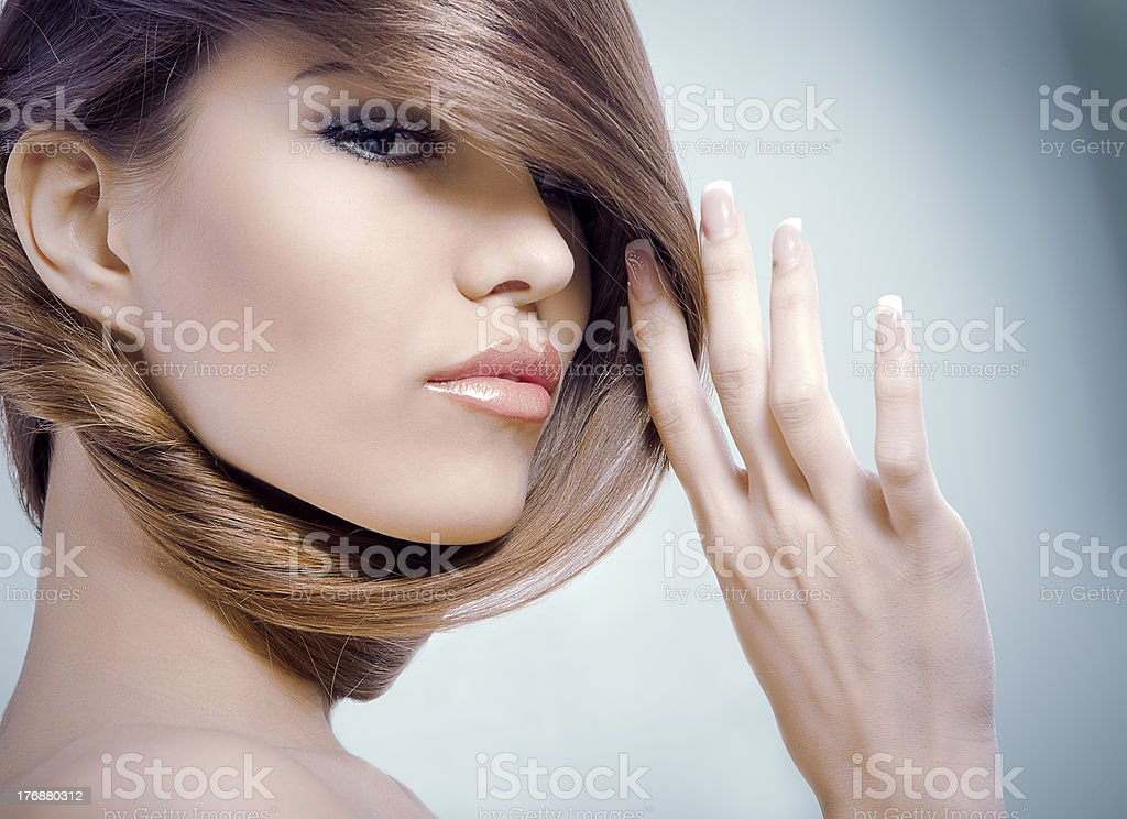 Image of girl with long beautiful hair royalty-free stock photo