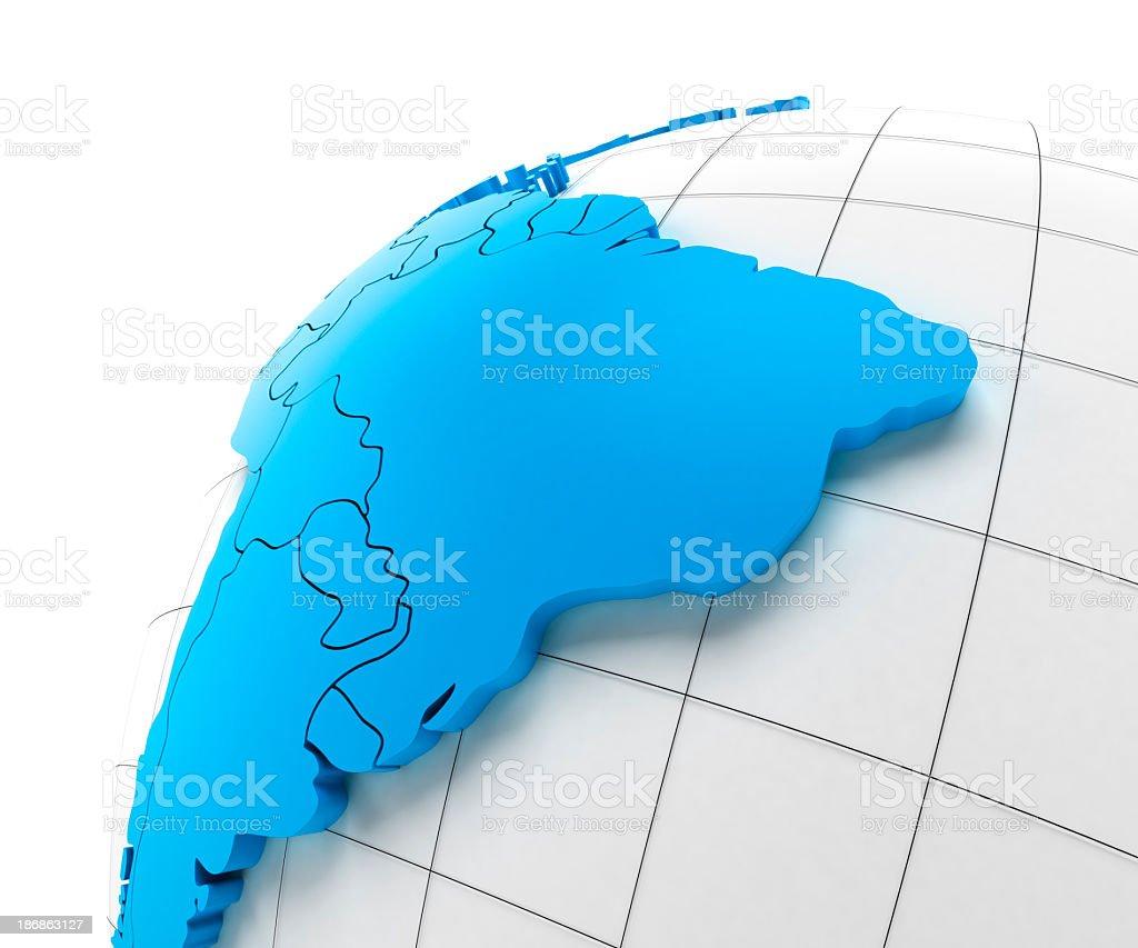 Globo de América del sur con las fronteras nacionales, trazados de recorte proporciona - foto de stock