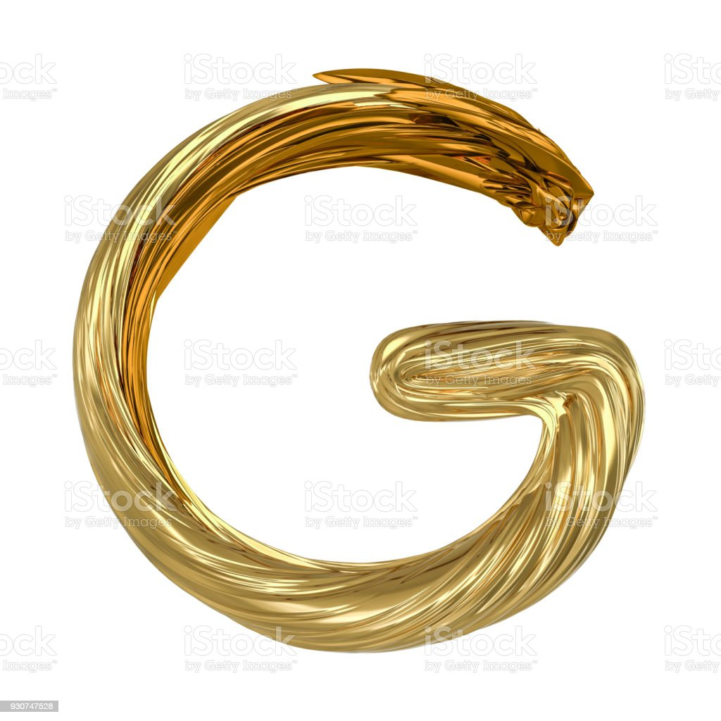 Image of gold color alphabet isolated on white. 3D stock photo