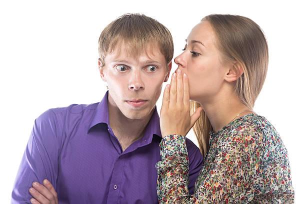 Bild von gossiping Frau und Mann – Foto