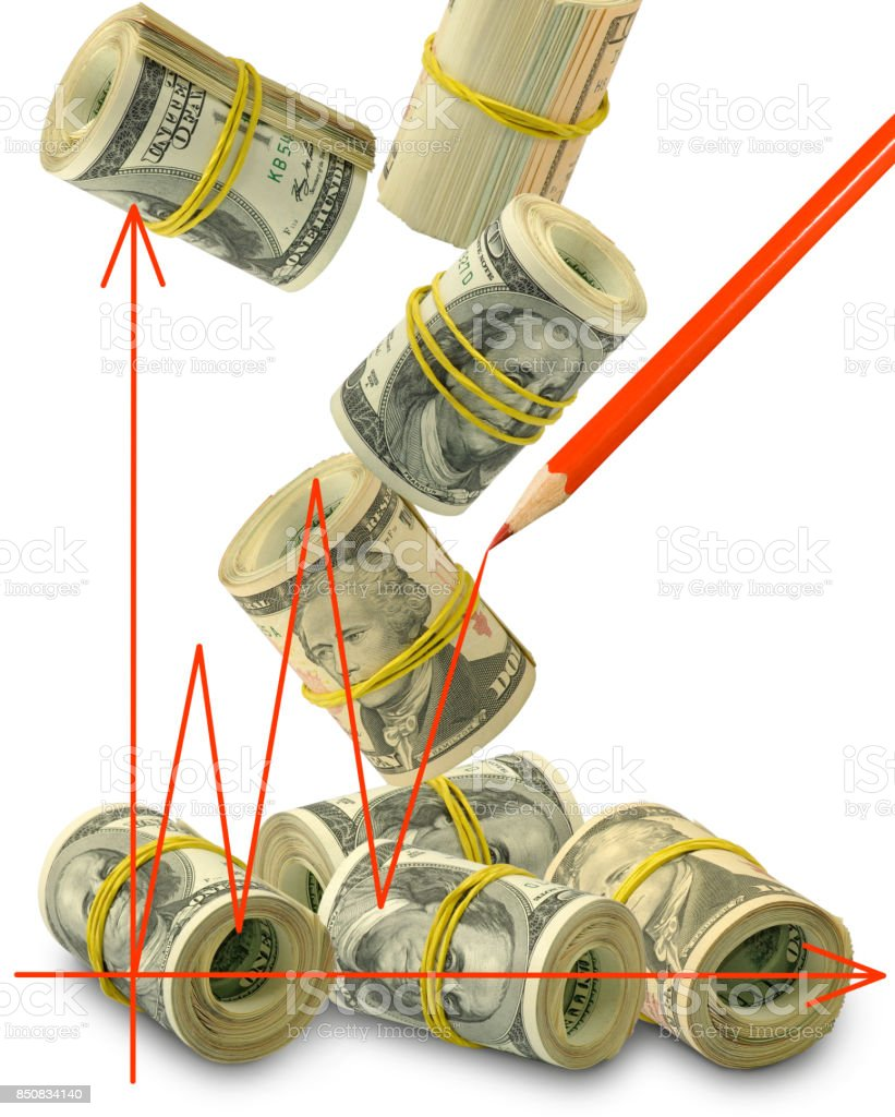 image of graphic on money background close-up stock photo