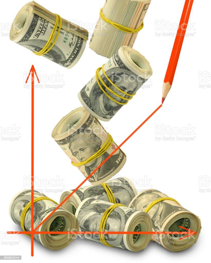 image of graphic on money background closeup stock photo