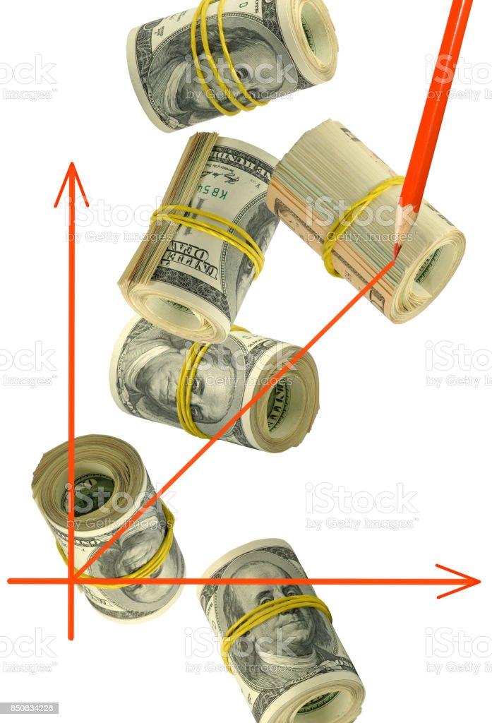 image of graphic on money background stock photo