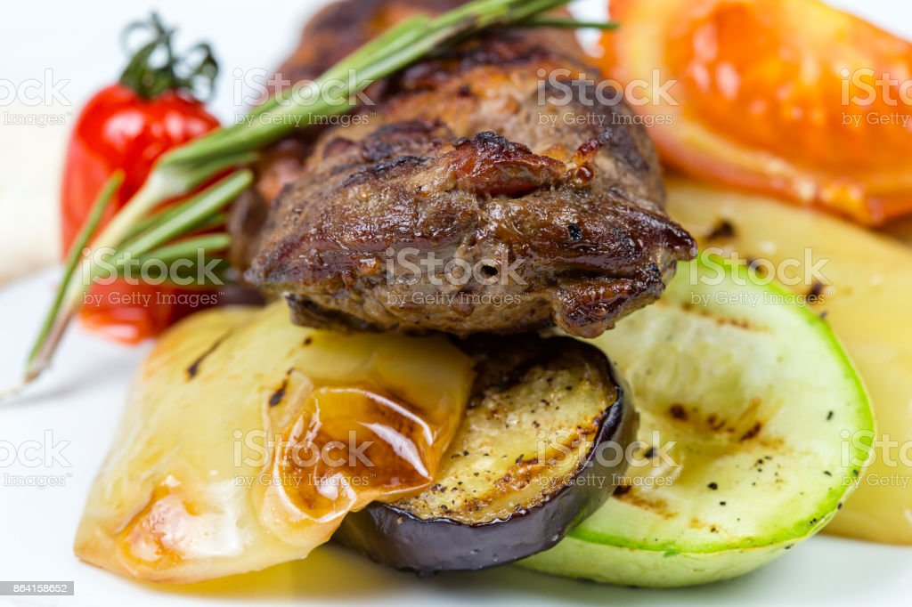 Image of grilled meat with tomato royalty-free stock photo