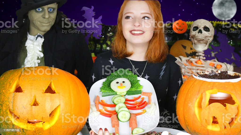 Stock photo showing Halloween party themed food ideas. This picture...