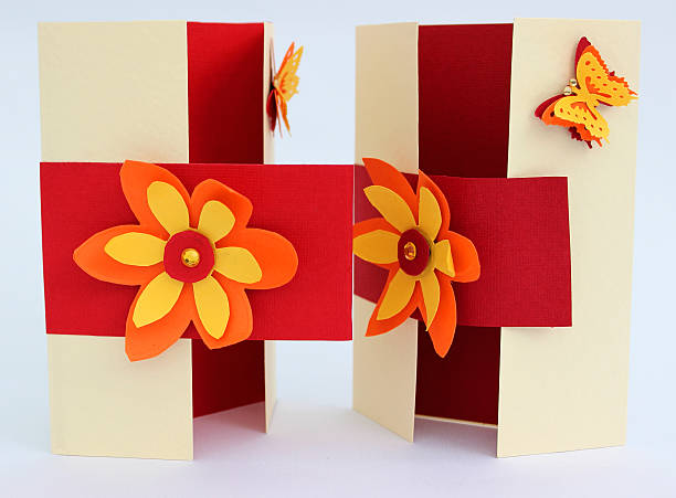 Image of handmade greetings cards with flowers and butterflies stock photo
