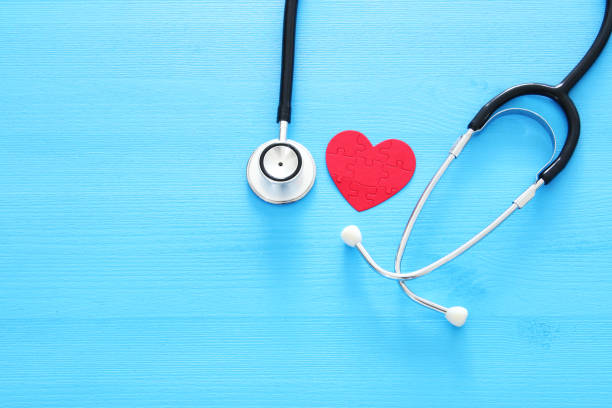 Image of heart and stethoscope. Medical concept. – zdjęcie