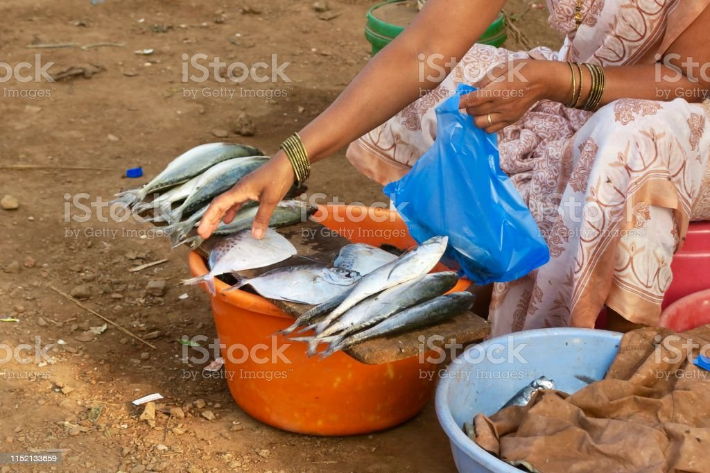 Image Of Hindu Indian Women Selling Fresh Fish In Plastic