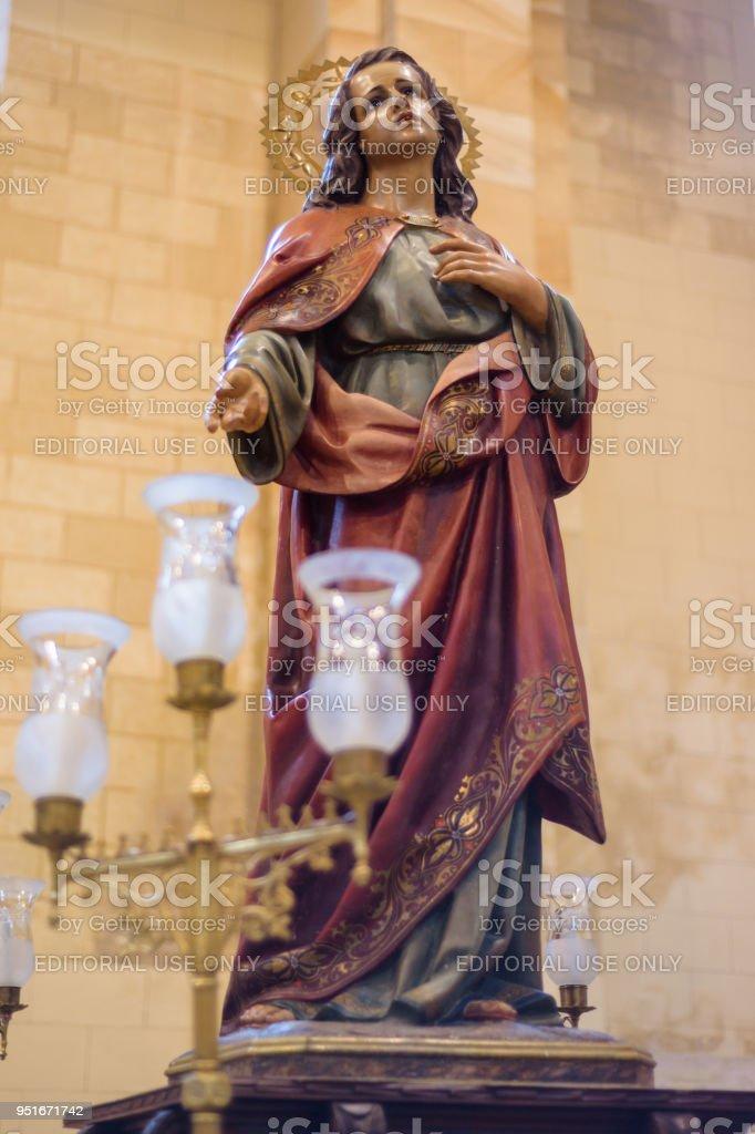 image of holy week procession, interior of the Church of Saint Mary. Holy Week (Semana Santa) in Briviesca, Burgos province , Spain stock photo
