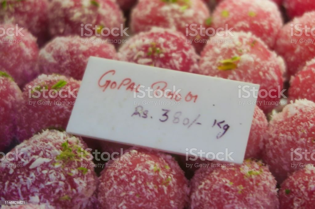 Image Of Homemade Pink Indian Sweets Gopal Bhog Recipe With ...
