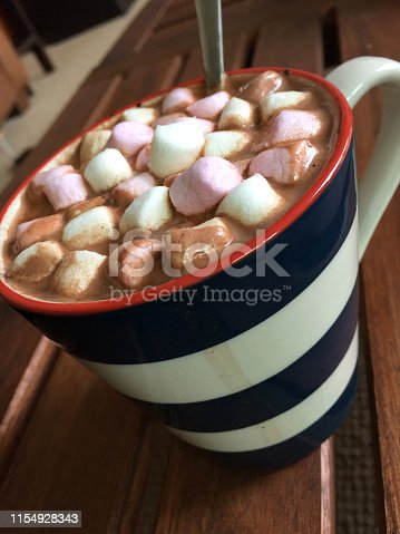 Stock photo of frothy hot chocolate drink in mug with mini marshmallows. The hot chocolate drink mug is placed on a wooden table as background. The hot chocolate is topped with delicious pink and white marshmallow sweets