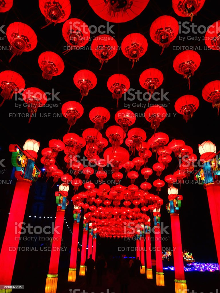 Image of illuminated Chinese lantern walkway, Festival of Light stock photo