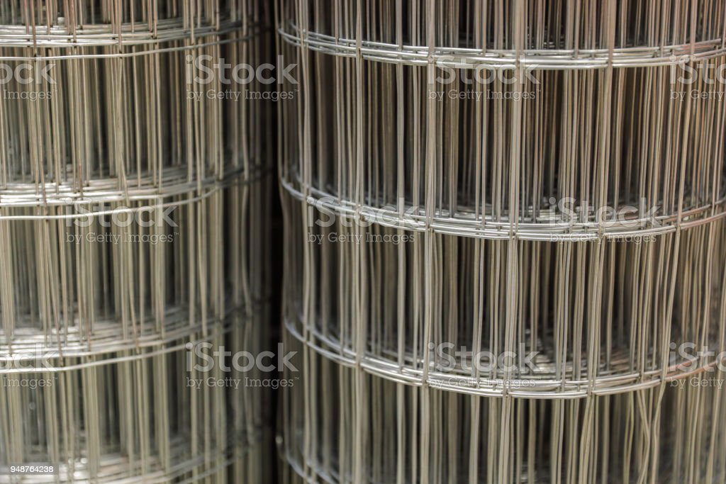 Image of industrial rolls of wire mesh background stock photo