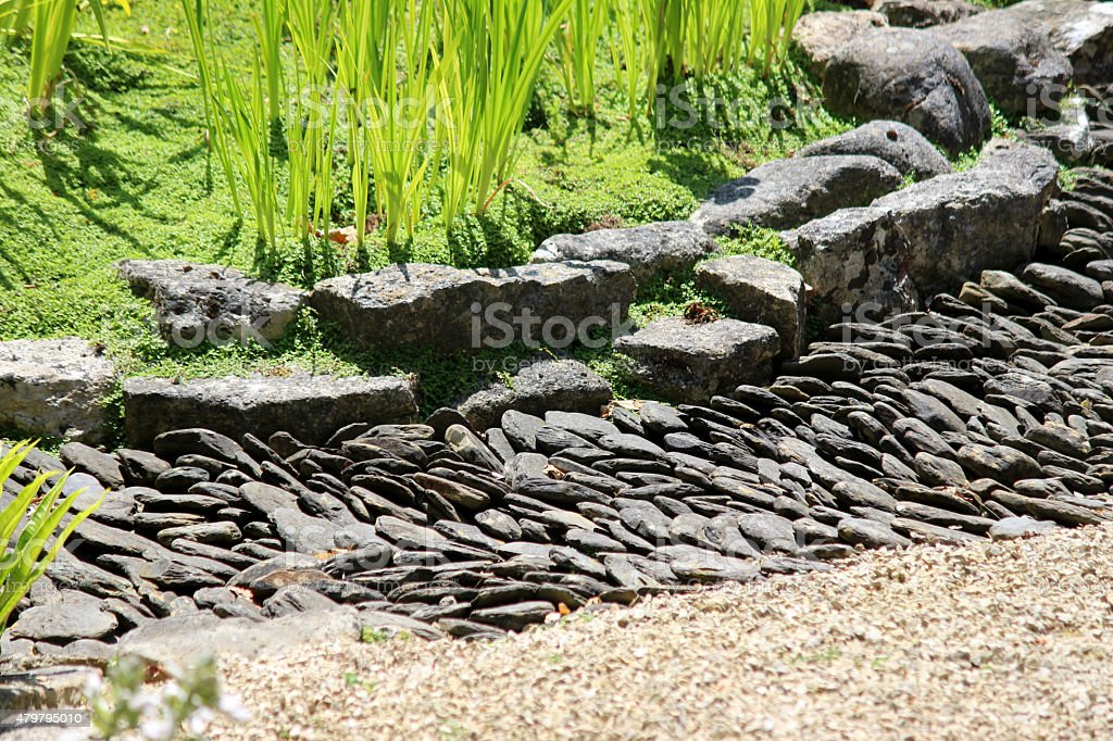 Image Of Japanese Garden Dry Stream, Made With Slate Paddlestones / Pebbles  Royalty