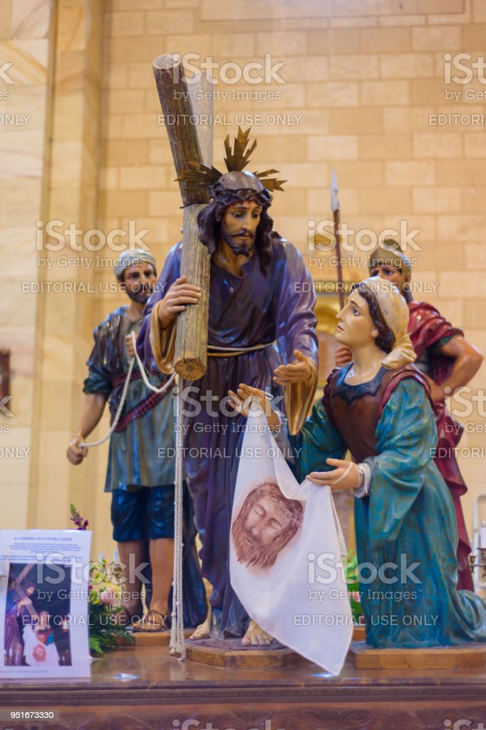 image of Jesus Christ and Veronica in holy week procession, interior of the Church of Saint Mary. Holy Week (Semana Santa) in Briviesca, Burgos province , Spain stock photo
