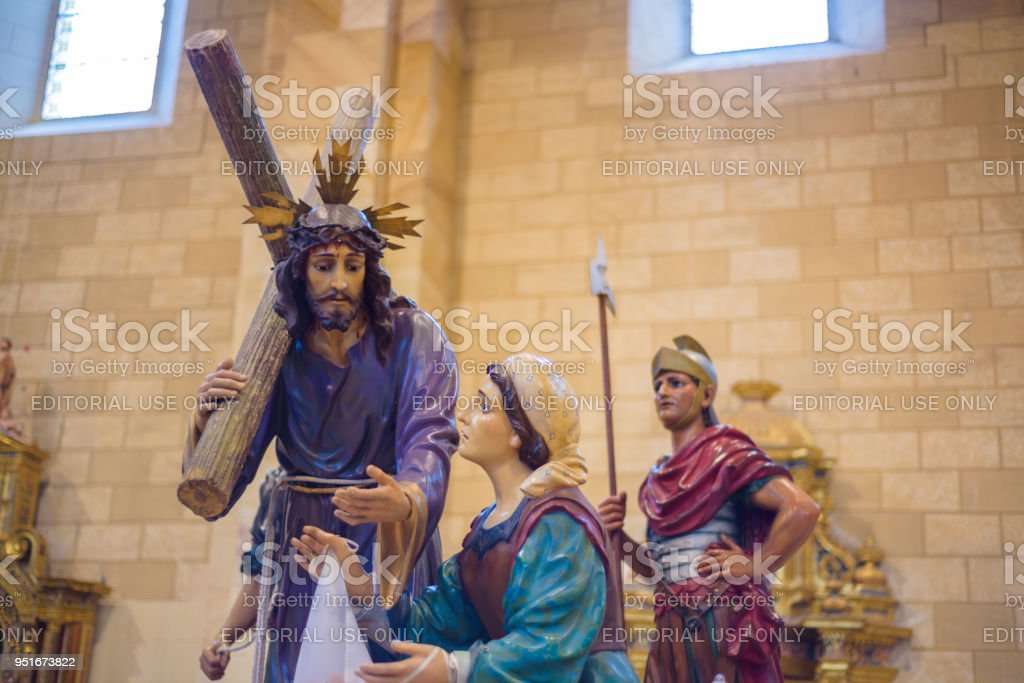 image of Jesus Christ in holy week procession, interior of the Church of Saint Mary. Holy Week (Semana Santa) in Briviesca, Burgos province , Spain stock photo
