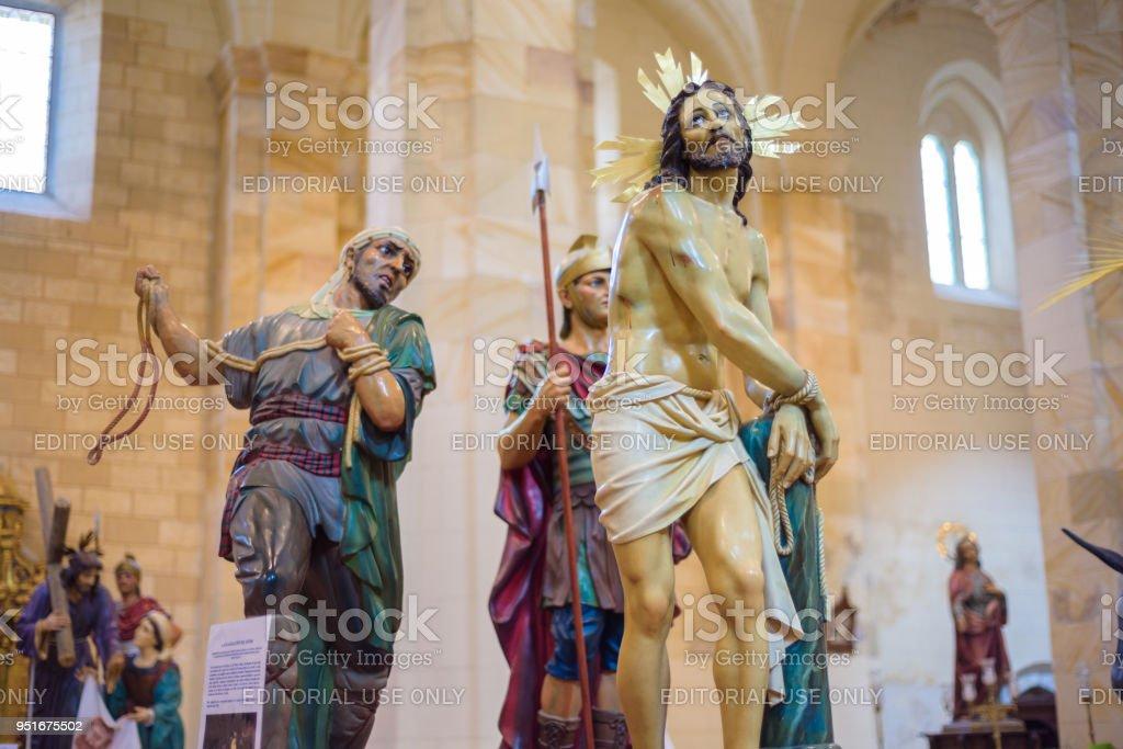 image of Jesus Christ, interior of the Church of Saint Mary. Holy Week (Semana Santa) in Briviesca, Burgos province , Spain stock photo