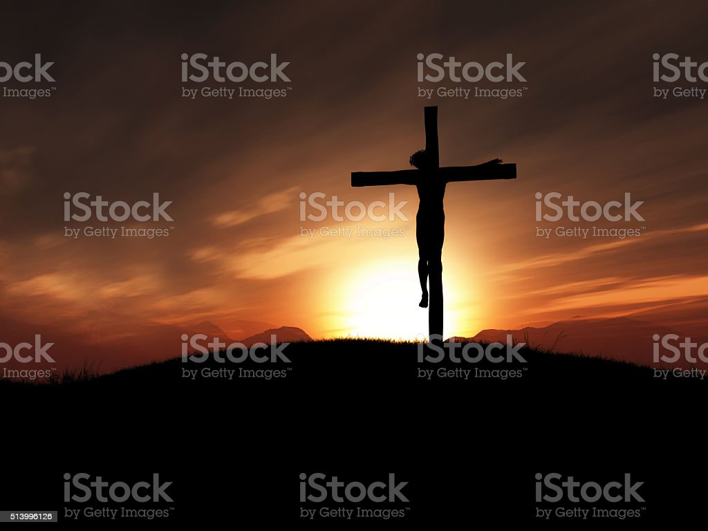 3D image of Jesus on the cross at sunset stock photo