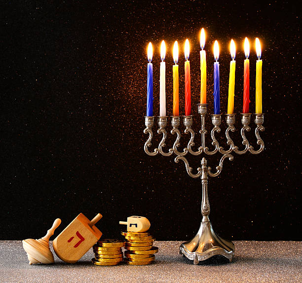 image of jewish holiday hanukkah background - hanoukka photos et images de collection