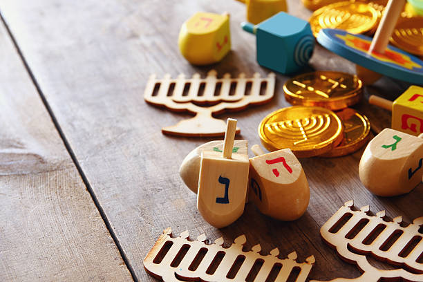 image of jewish holiday hanukkah background - chanukka stock-fotos und bilder