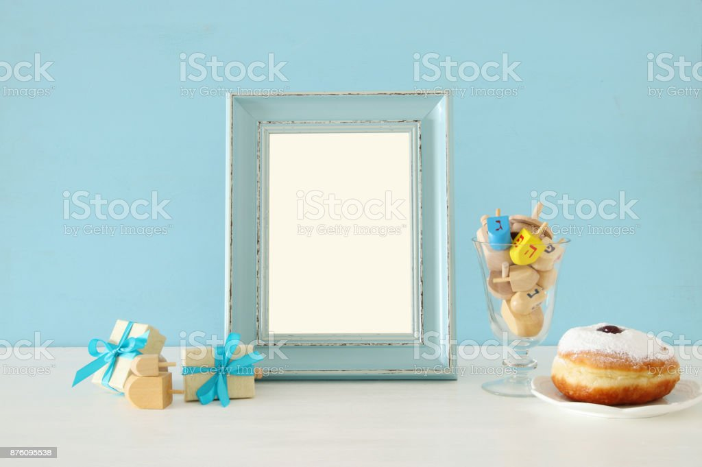 image of jewish holiday Hanukkah background stock photo