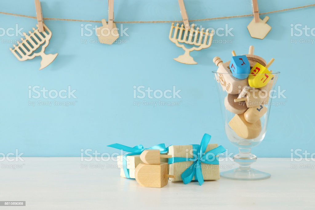image of jewish holiday Hanukkah background with traditional spinnig tops stock photo