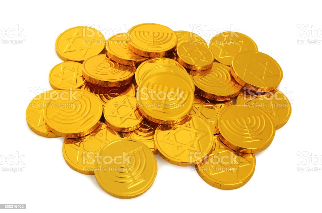 Image of jewish holiday Hanukkah with gold chocolate coins isolated...