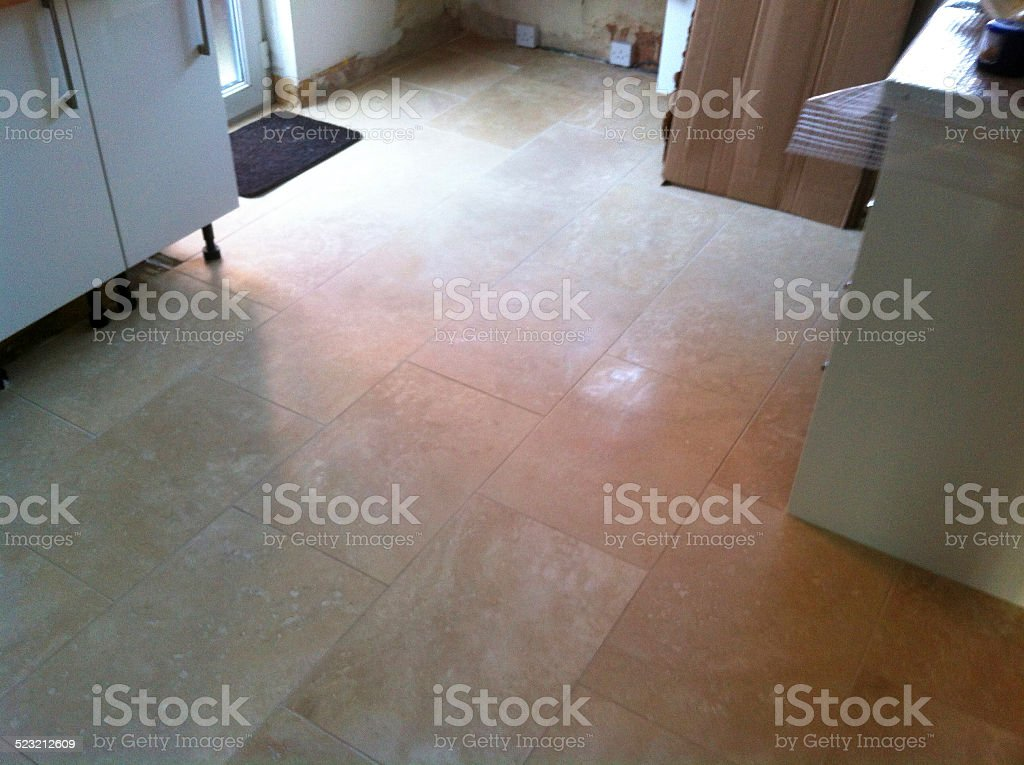 Image Of Kitchen Floor Being Tiled Rectangular Stone ...