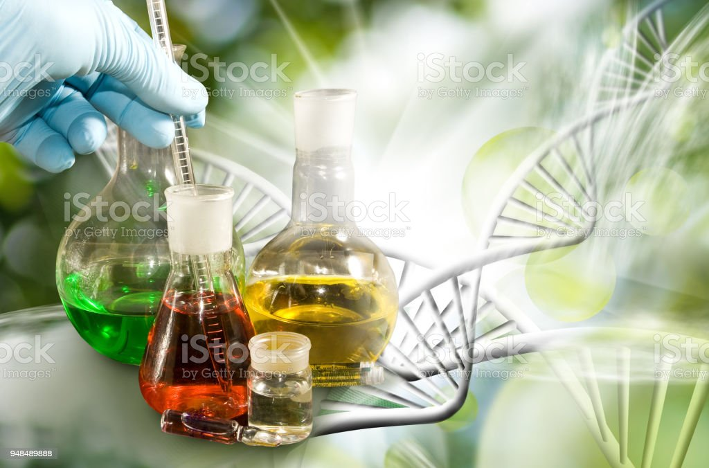 image of laboratory glassware closeup stock photo