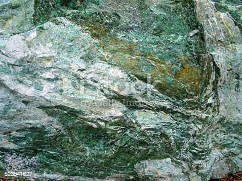 Image Of Large Green Marble Rock Quartz Veins Metamorphic