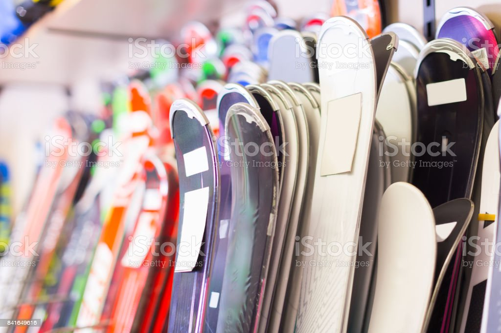 Image of large selection of skis stock photo